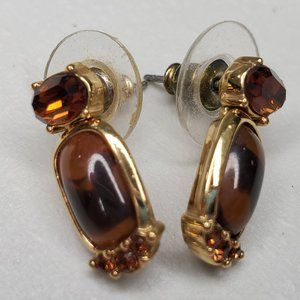 Monet Rhinestone Earrings Brown Faux Tortoise Shel